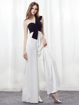 Ericdress Scoop Neck Black And White Loose Jumpsuits