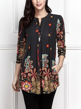 Ericdress Print Loose Scoop Long Sleeve Tee Shirt