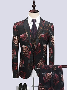Ericdress Color Block Leaf Print Mens 3 Piece Suit