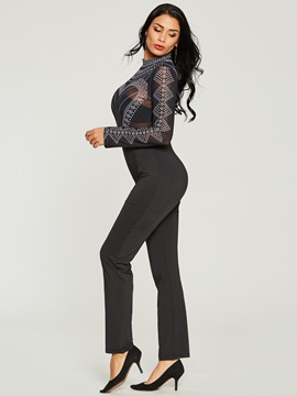 Ericdress Mesh Print Skinny Full Length Jumpsuits Pants