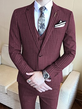 Ericdress Vertical Stripe Mens Casual 3 Piece Suit