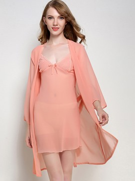 Ericdress V-Neck Slim See-Through Nightgown and Robe