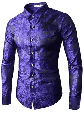 Ericdress Long Sleeve Jacquard Slim Fit Men's Shirt