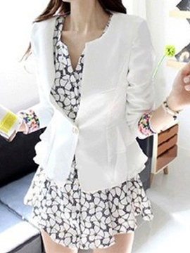 Ericdress Slim One Button Falbala Blazer