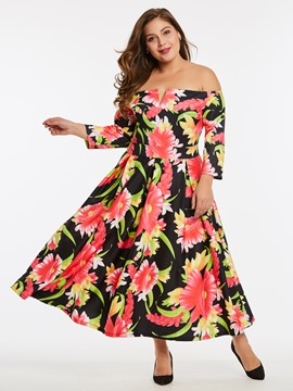 Ericdress Floral Print Slash Neck Nine Points Sleeve A Line Dress