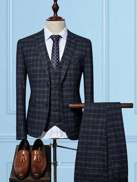 ericdress plaid color block mens 3 piezas traje
