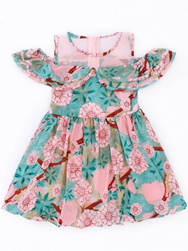 Ericdress Floral Print Color Block Girl's Summer Dress