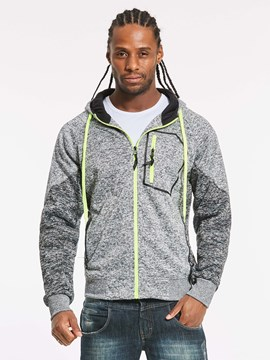 Ericdress Hooded Patchwork Zipper Men's Hoodie