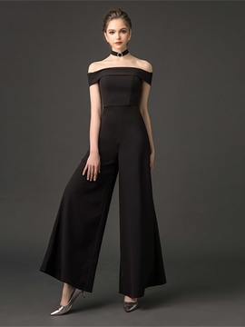 Ericdress Off The Shoulder Floor Length Black Prom Jumpsuit