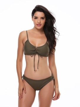 Ericdress Plain Lace-Up Army Green 2-Pcs Bikini Set