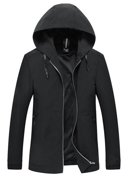 Ericdress Plain Slim Fit Hooded Mens Casual Jacket