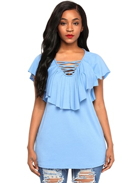 Ericdress Plain V-Neck Ruffles Short Sleeve Tee Shirt