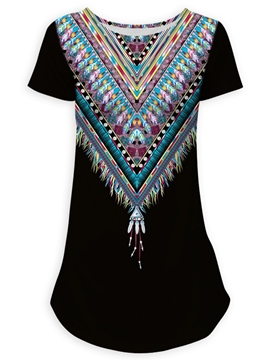 Ericdress Slim Scoop Geometric Print Short Sleeve Tee Shirt