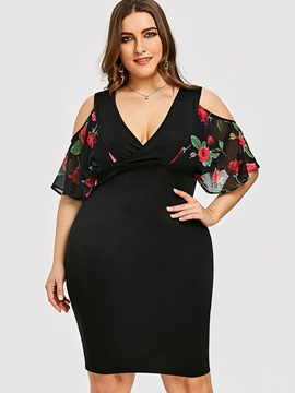 Ericdress V Neck Hollow Floral Print Ruffle Plus Women's Bodycon Dress