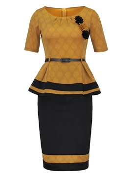 Ericdress Bodycon Skirt and Color Block Tops Women's Suit