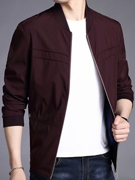 Ericdress Plain Slim Zipper Mens Casual Jacket