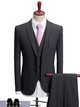Ericdress Solid Color Slim Fit Three-piece Of Men's Suits