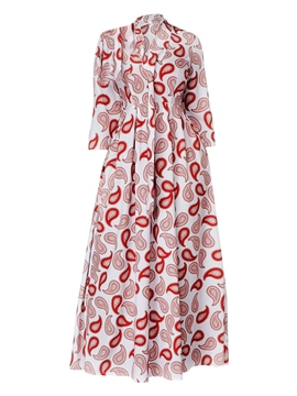 Ericdress Printing Long Sleeve Tie Neck Women's Maxi Dress