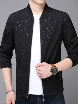 Ericdress Print Slim Fit Mens Zipper Casual Jacket