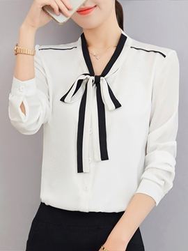 Ericdress Single-Breasted Tie Neck Long Sleeve Blouse
