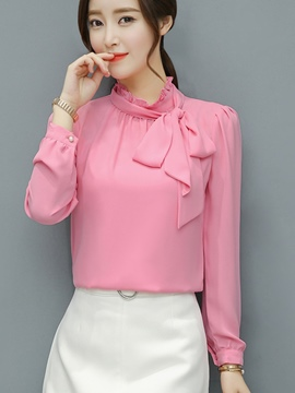 Ericdress Plain Pullover Tie Neck Long Sleeve Blouse