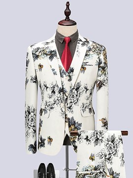 Ericdress Peony Print Color Block Mens 3 Piece Suit