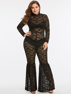 Jumpsuit de mujer ericdress see-through lace