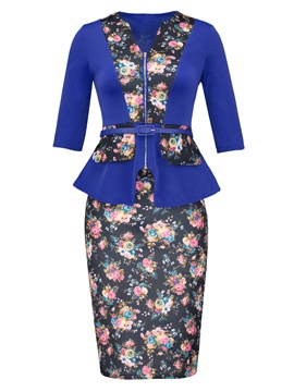 Ericdress Floral Print Jacket and Bodycon Skirt Women's Suit(Random Belt Color)