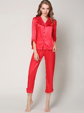 Eircdress Sleepwear V-Neck Button Sleep Top and Bottom Pajama Set