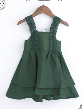 Ericdress Asymmetrical Bowknot Stpaghetti Strap Girl's Dress