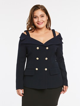 Ericdress Plus-Size Slash Neck Double-Breasted Blazer