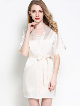 Ericdress Spaghetti Strap Strapless Nightgown and Short Sleeve Robe