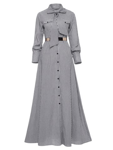 Ericdress Tie-Neck Button Bow Long Sleeve Women's Maxi Dress