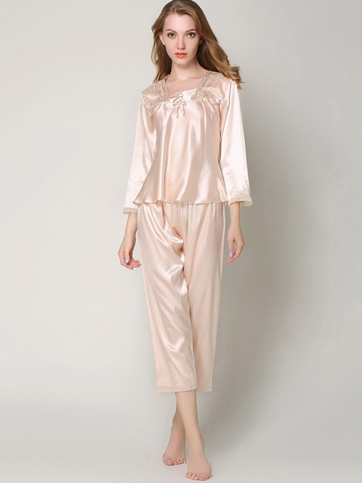 Eircdress Sleepwear Lace Bowknot Ankle Length Pajama Set