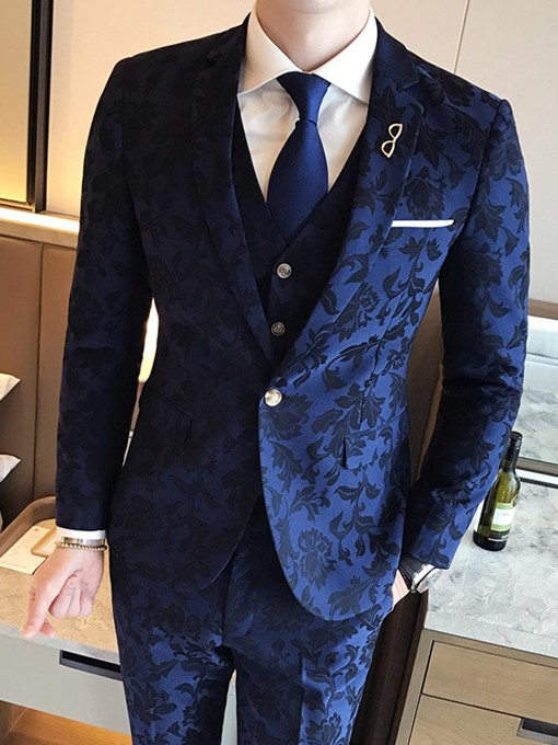 Ericdress Lapel Slim Fit Print Three-piece of Men's Suits