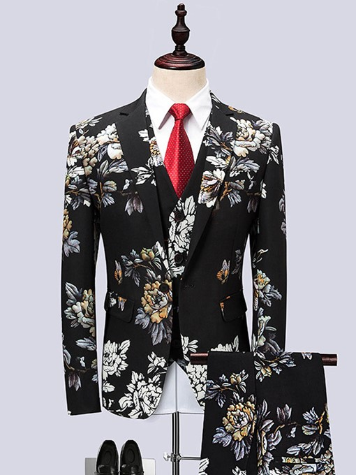 Ericdress Floral Print Color Block Mens 3 Piece Suit