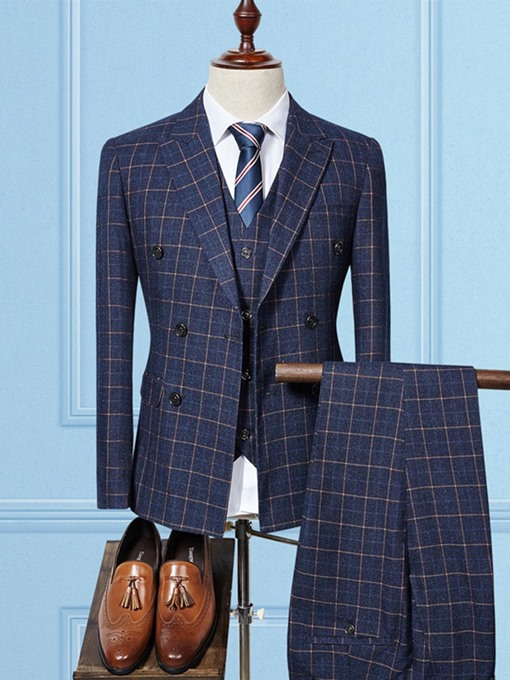 Ericdress Plaid Blazer Pants Vest Mens Suit