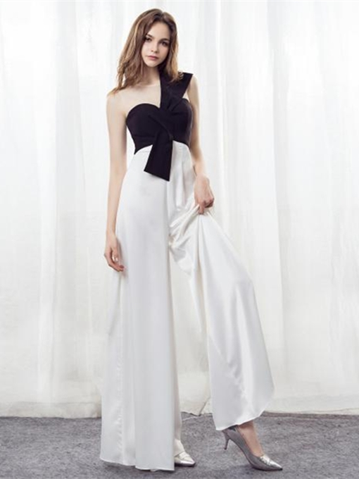 Ericdress Scoop Neck Black And White Loose Prom Jumpsuit