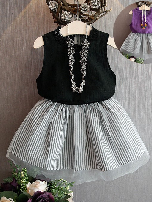 Ericdress Striped Mesh Sleeveless T Shirts & Skirt Girl's Outfits