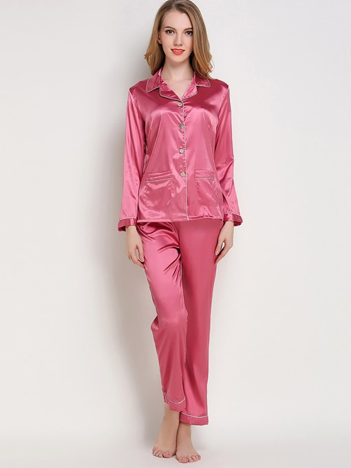 Eircdress Sleepwear Lapel Single-Breasted Long Sleeve Pajama Set