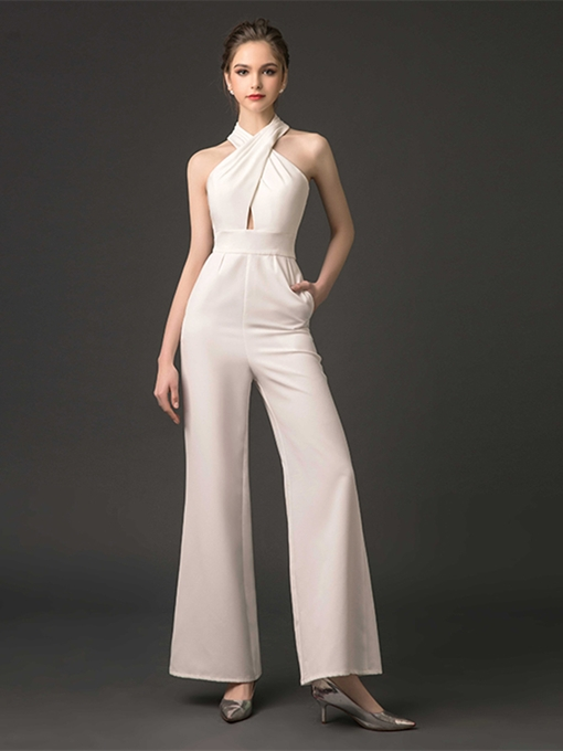 Ericdress Sheath Halter Pleats Backless Prom Jumpsuit
