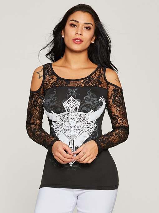 Ericdress Hollow Lace Print Long Sleeve Tee