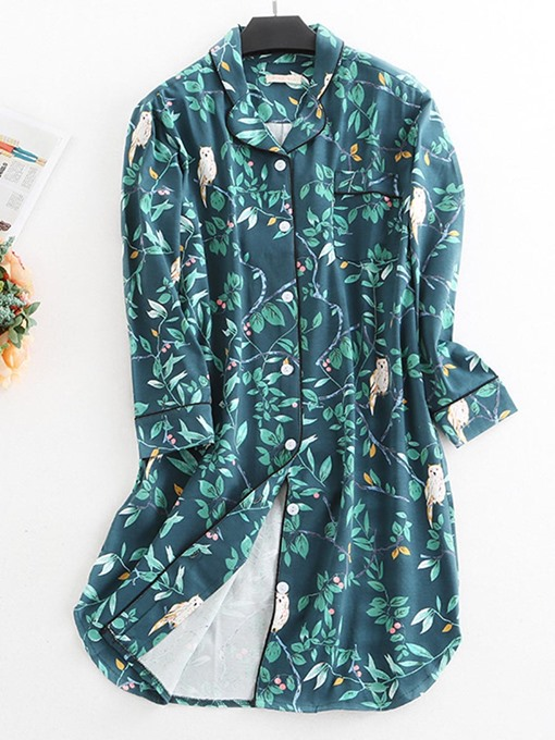 Ericdress Floral Button Pocket Print Women's Nightgown