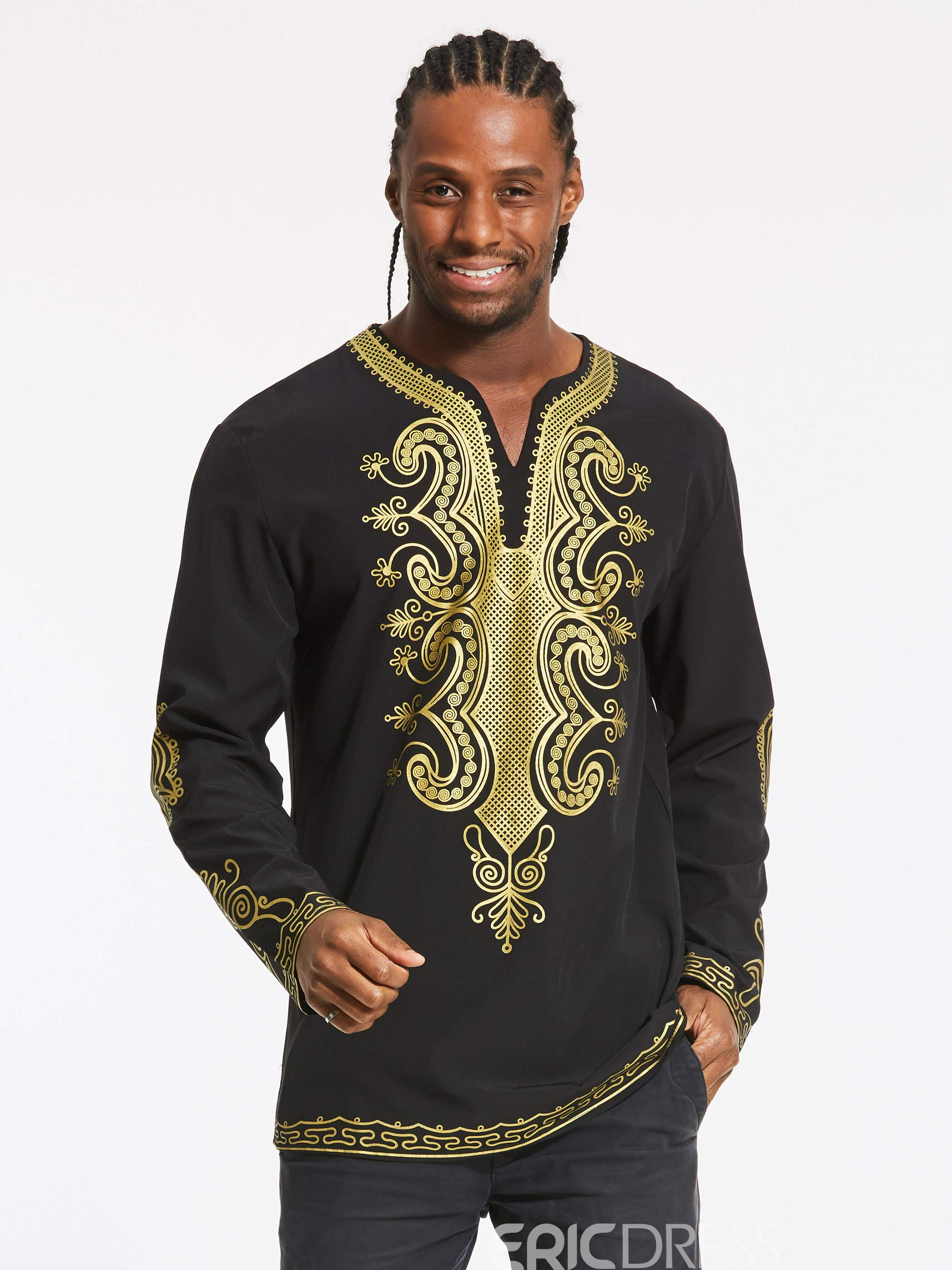 Ericdress African Fashion Dashiki Color Block Print V-Neck Vogue Slim Men's T-Shirt