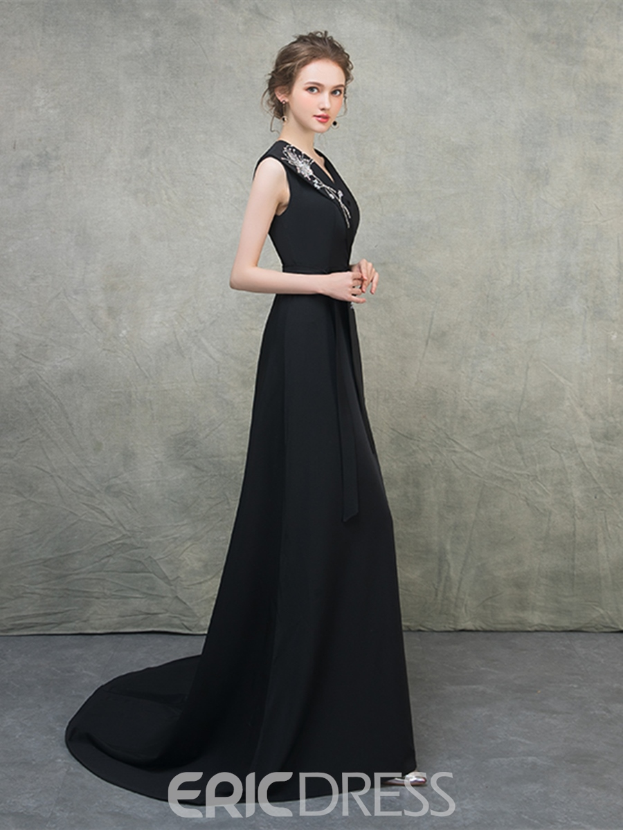 Ericdress A Line V Neck Beaded Split-Front Black Evening Dress