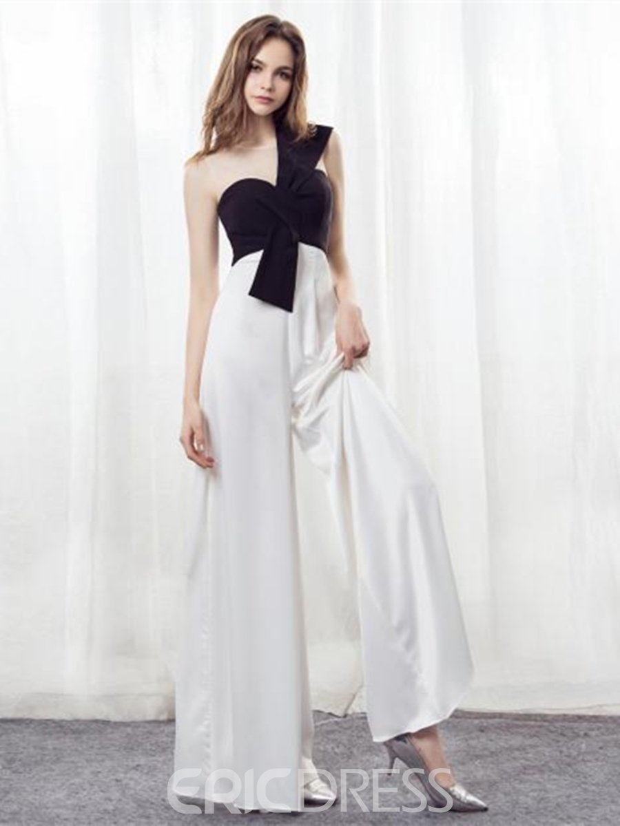 929eef0f83b Ericdress Scoop Neck Black And White Loose Prom Jumpsuit 13229301 ...