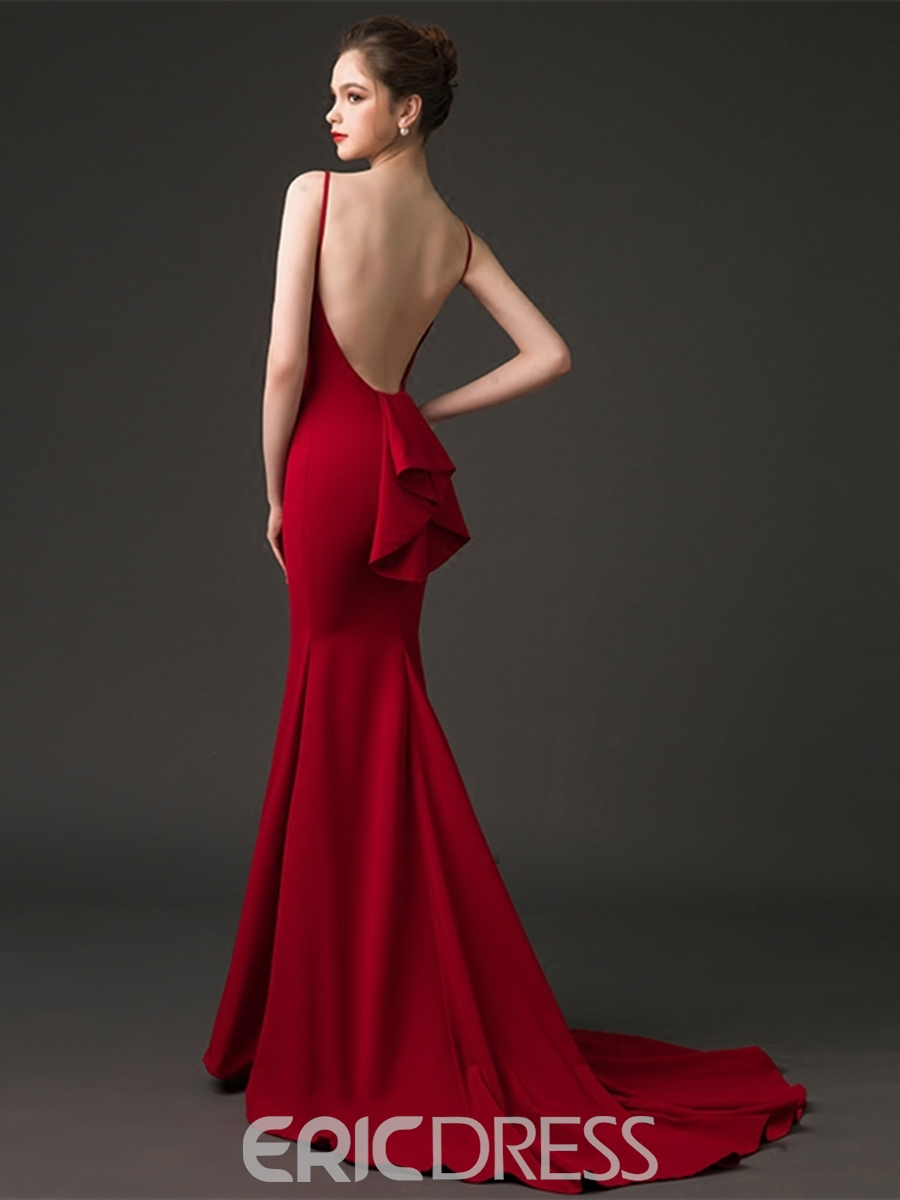 Ericdress Bateau Neck Backless Mermaid Evening Dress