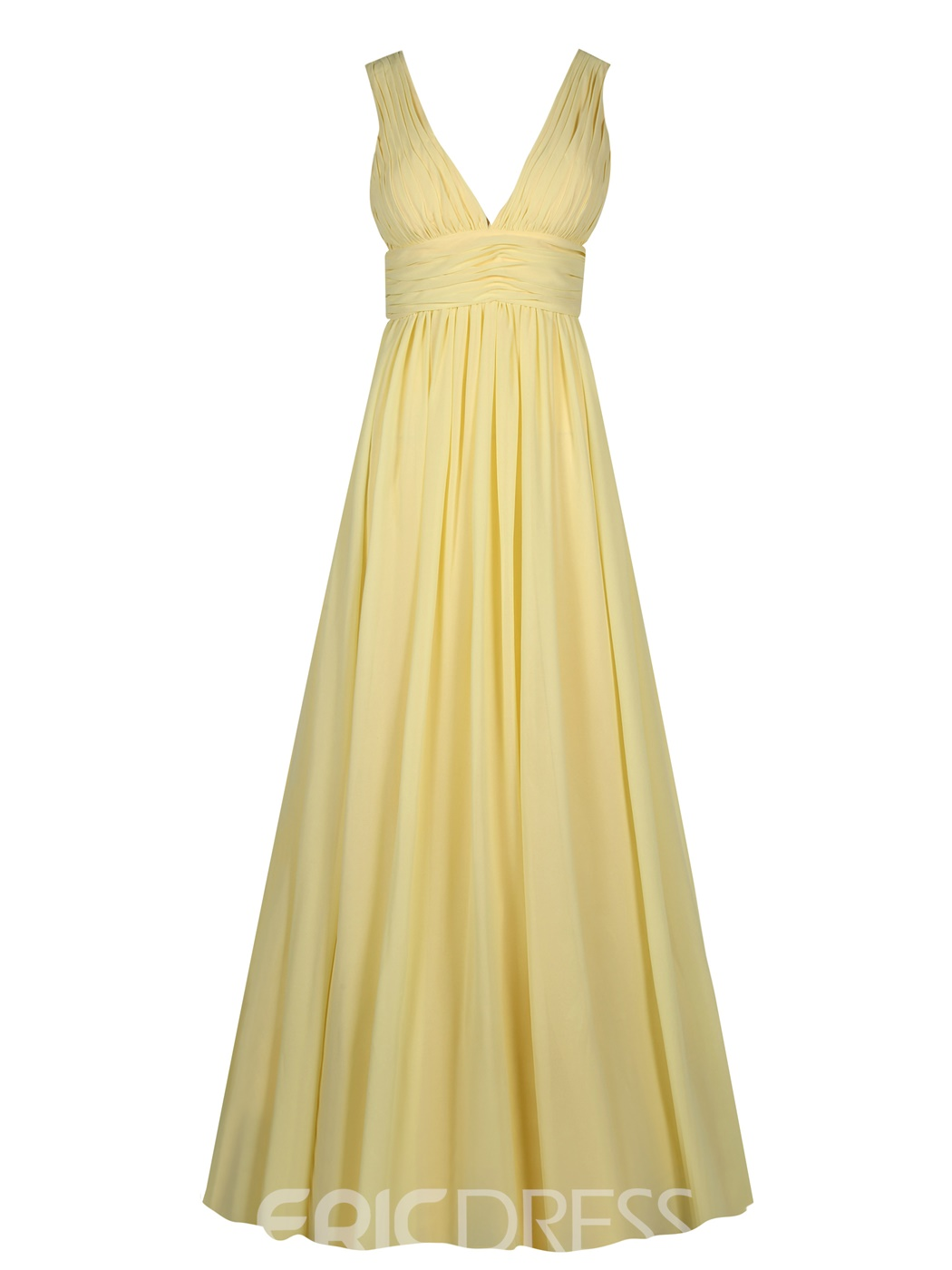 Ericdress V Neck Backless Pleats A Line Evening Dress