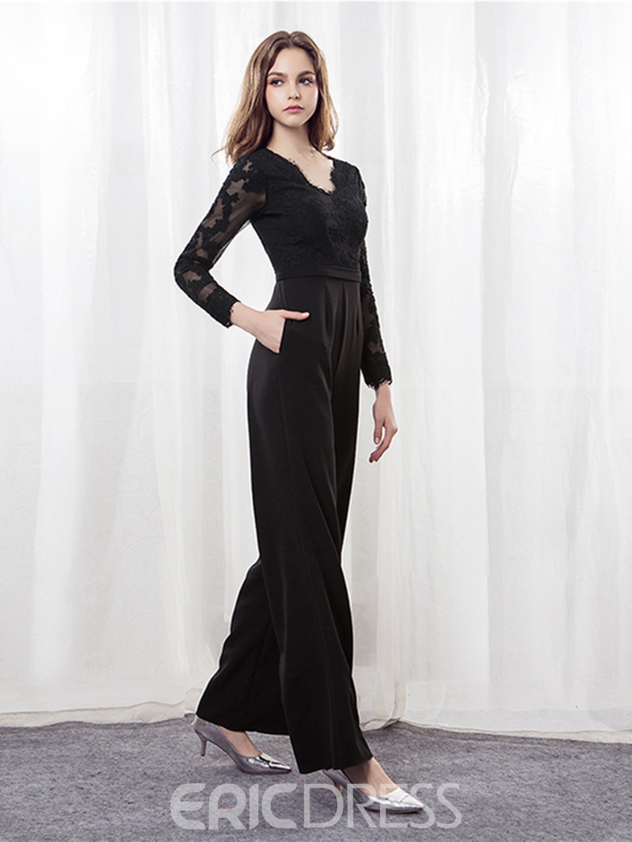 Ericdress Lace Long Sleeve Loose Black Jumpsuits