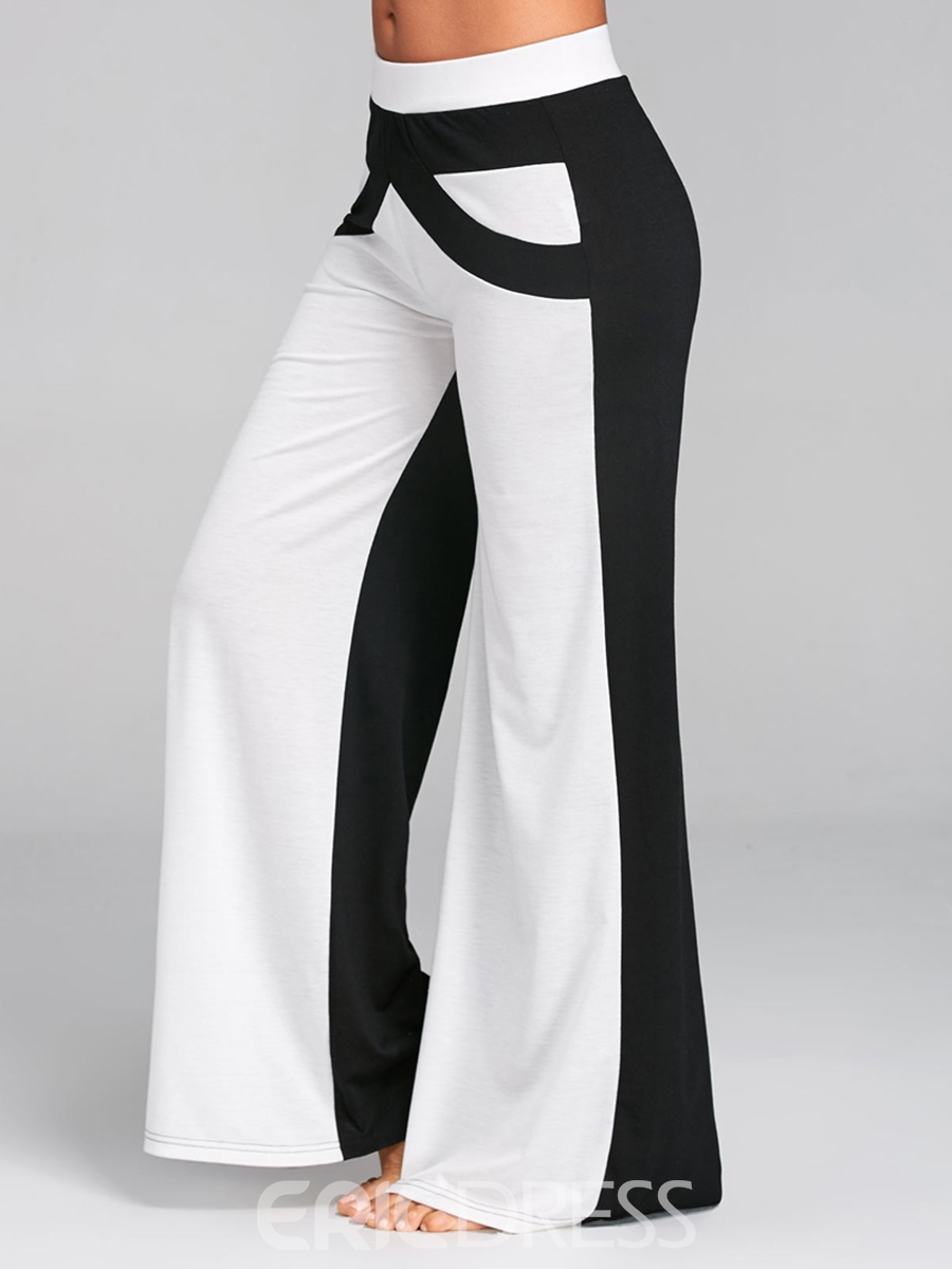 Ericdress Wide Leg Loose Color Block Women's Pants